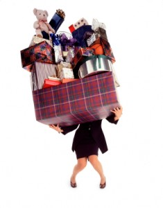 woman loaded with gifts
