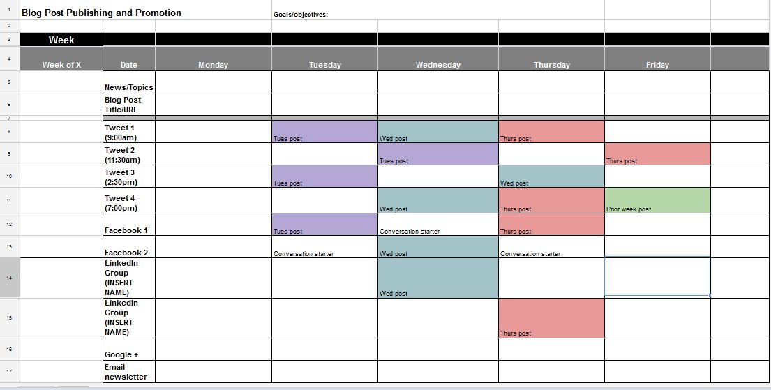 The Best Content And Social Media Calendar Templates Solo PR Pro - Facebook posting schedule template