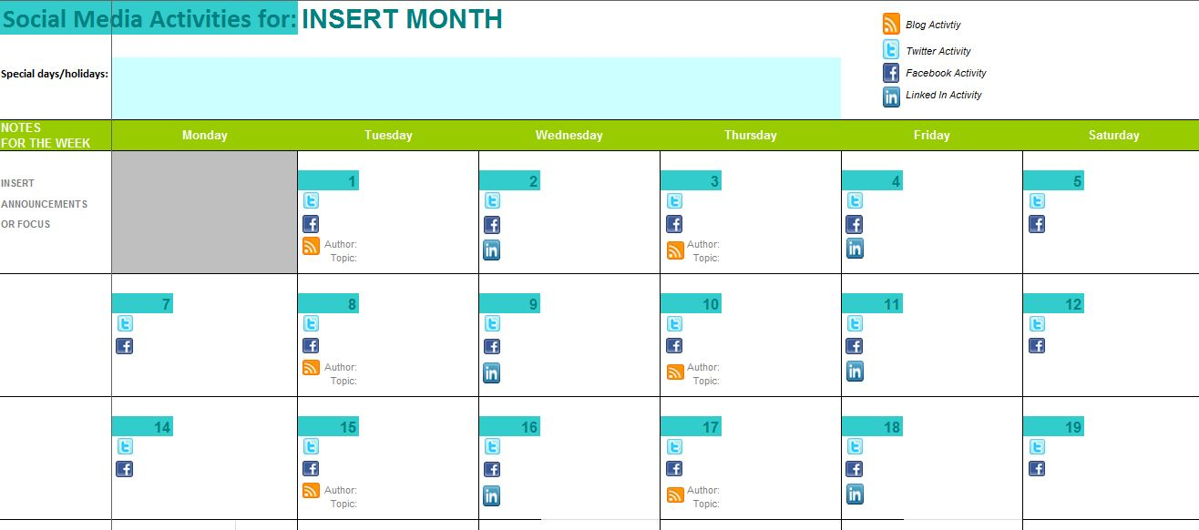 The Best Content And Social Media Calendar Templates  Solo Pr Pro