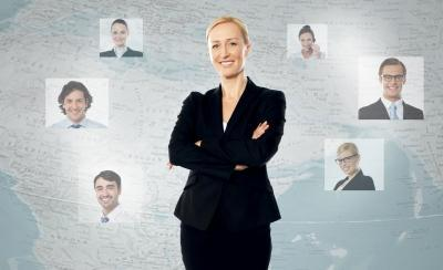 Woman with virtual team